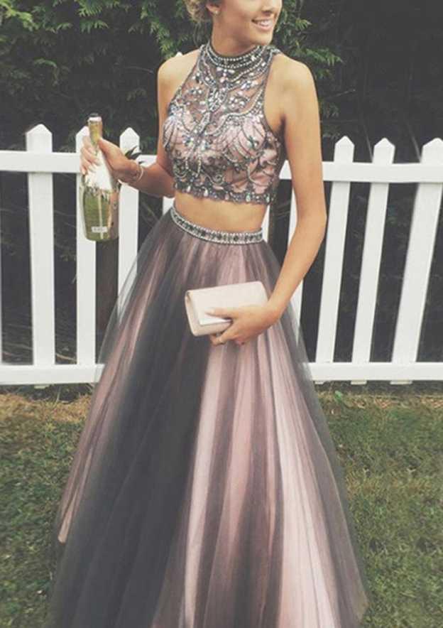 e0aaeb2045 Tulle Long Floor-Length A-Line Princess Sleeveless Bateau Zipper Prom Dress  With Beaded