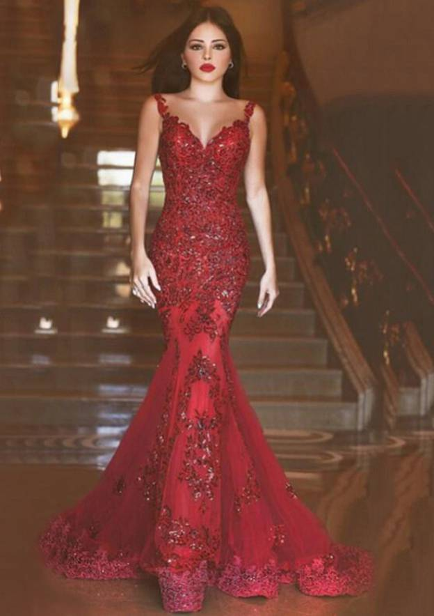 3fa12284f43 Trumpet Mermaid Sweetheart Sleeveless Sweep Train Tulle Evening Dress With  Crystal Appliqued