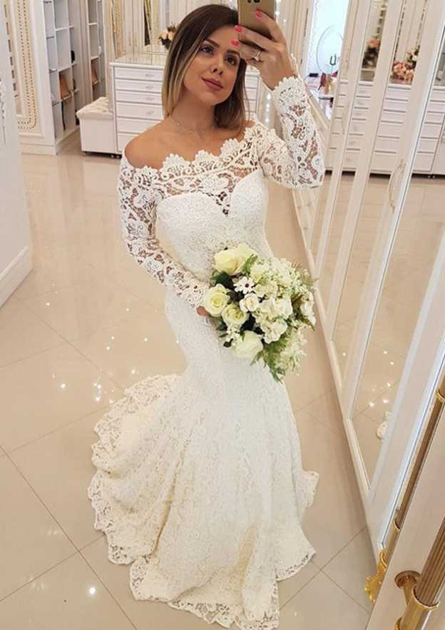 e64639db569 Trumpet Mermaid Off-the-Shoulder Full Long Sleeve Sweep Train Lace Wedding  Dress