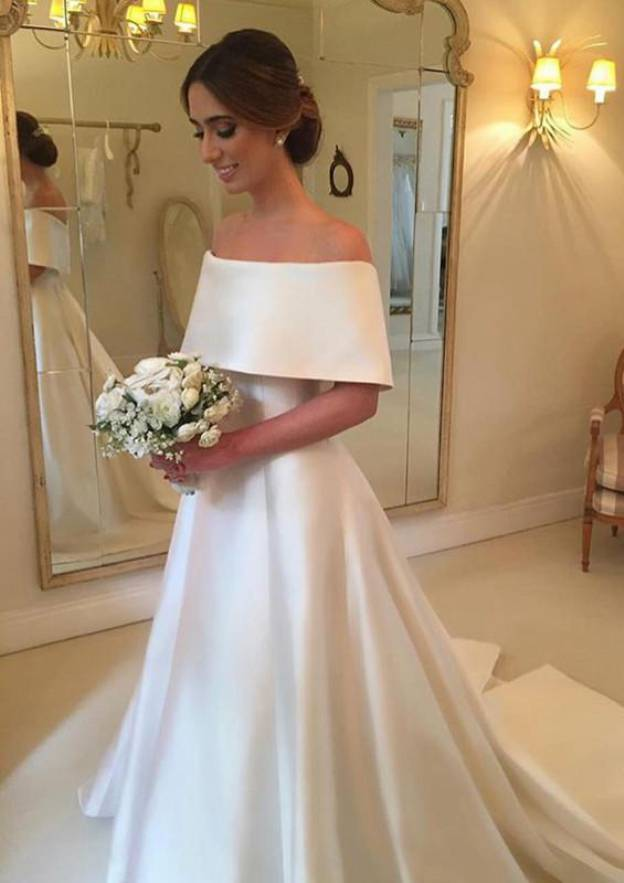 cb4eb87ee3b9 A-line Princess Off-the-Shoulder Half Sleeve Court Train Satin Wedding Dress