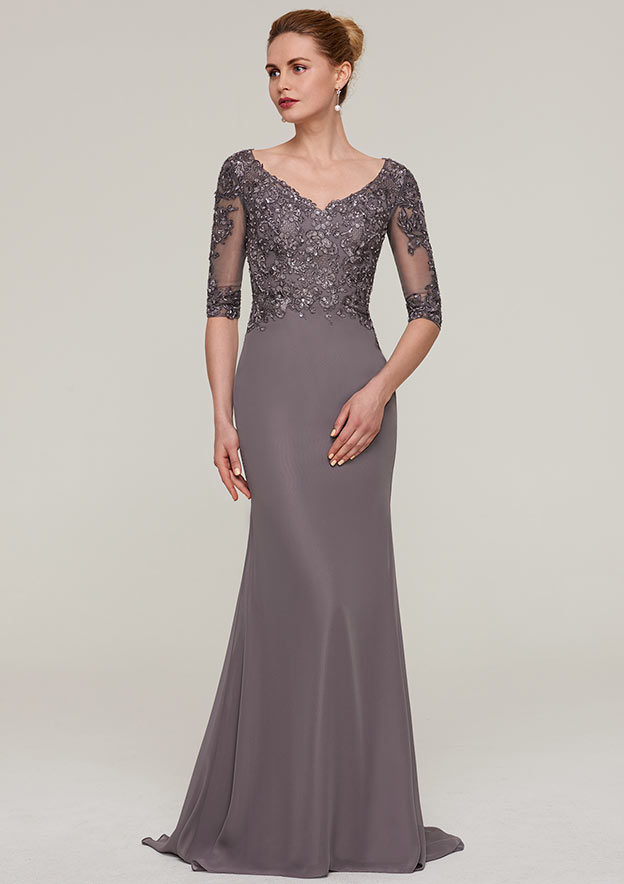 c0e9bcc91f34 Sheath/Column V Neck Half Sleeve Sweep Train Chiffon Mother of the Bride  Dresses With Appliqued Beading