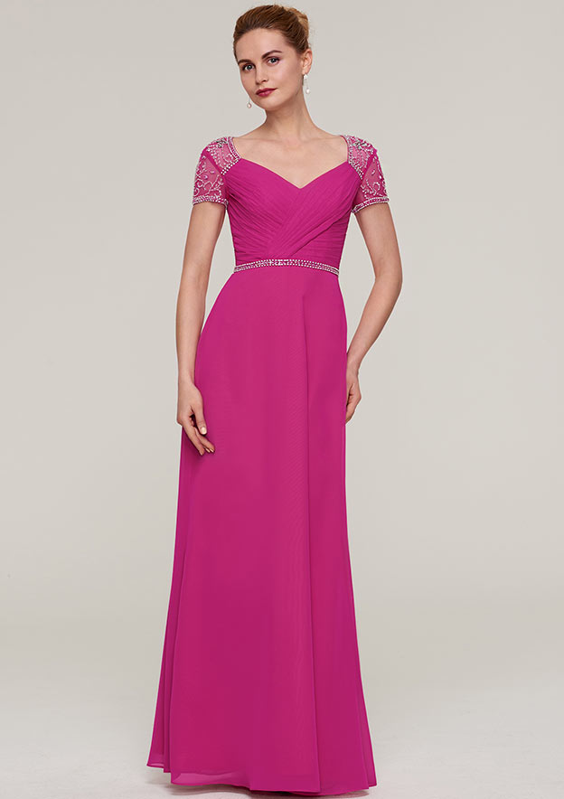 a7c28dfd970a8 Sheath Column V Neck Short Sleeve Long Floor-Length Chiffon Mother of the Bride  Dresses With Waistband Beading