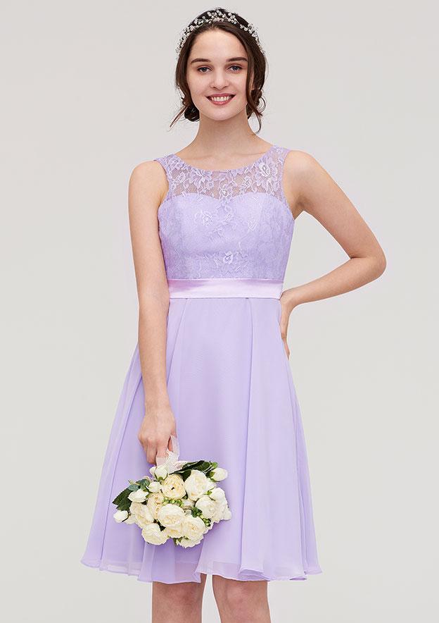 60f9eaae17 A-line Princess Bateau Sleeveless Knee-Length Chiffon Bridesmaid Dress With  Sashes Lace