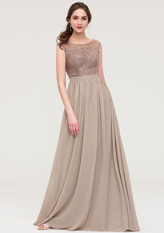 177885d47d Chiffon Bridesmaid Dress A-line/Princess Scoop Neck Sleeveless Long/Floor- Length With Sequins Beading Lace Pleated