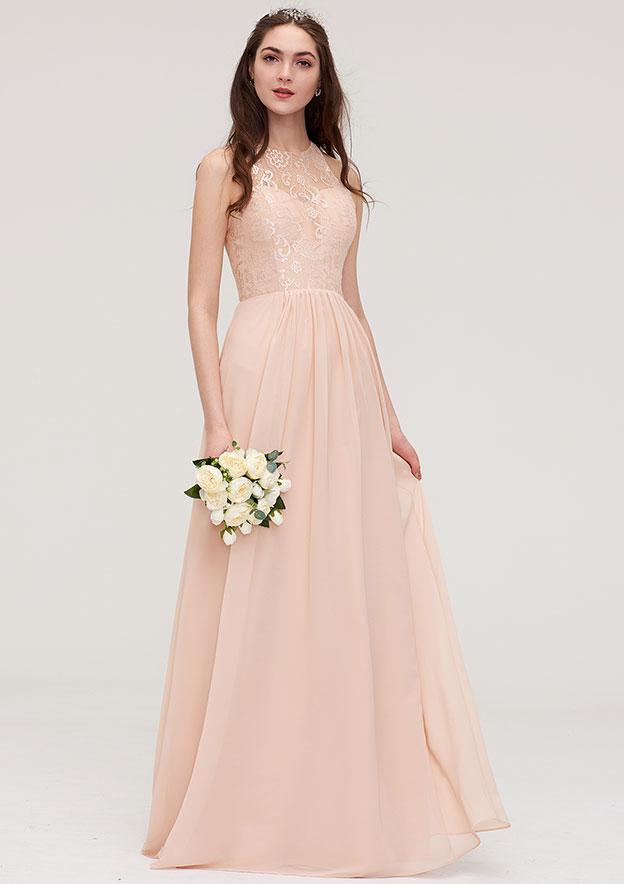 a248d6430f1 Chiffon Bridesmaid Dress A-line Princess Bateau Sleeveless  Long Floor-Length With Lace Pleated